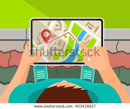 Mobile navigation tablet. Vector flat cartoon illustration - stock vector
