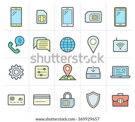 Mobile network operator icons. Vector icons for cellular company - stock vector