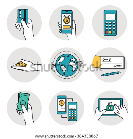 Mobile Payment and other payment methods. Smart banking icons collection.  - stock vector
