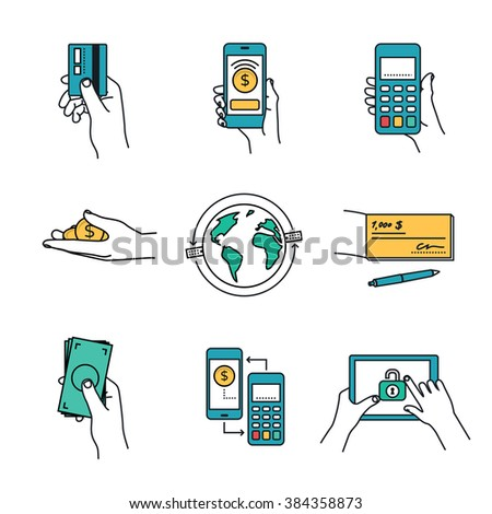 Mobile Payment and payment methods. Vector illustrations collection. - stock vector