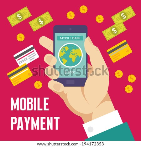Mobile Payment Creative Illustration - Business Concept in Flat Design Style for presentation, booklet, web site etc. - stock vector