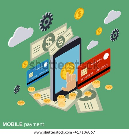 Mobile payment, online banking, money transfer, financial transaction flat isometric vector concept illustration - stock vector