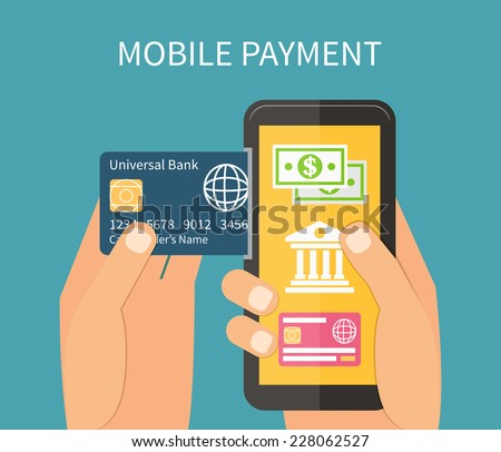 Mobile payment using smartphone and credit card, near field communication technology, online banking. Flat design vector. - stock vector