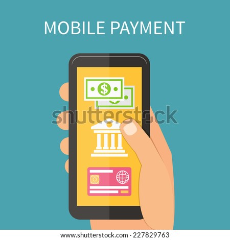 Mobile payment using smartphone, near field communication technology, online banking. Flat design vector. - stock vector