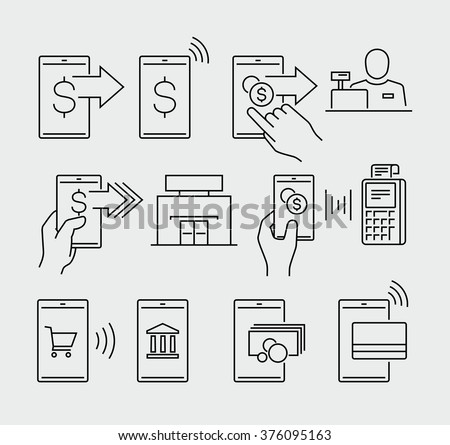 Mobile payment vector icons  - stock vector