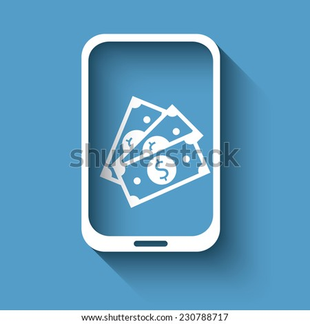 Mobile payment with smartphone sign in modern flat design. Advertisement for modern nfc technology. Eps10 vector illustration - stock vector