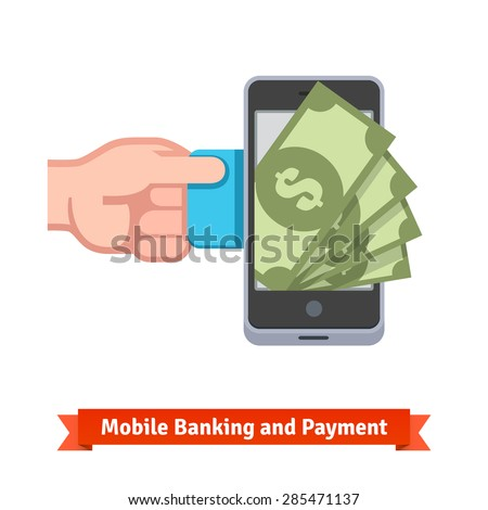 Mobile payments concept. Human hand transferring money from a credit card to smartphone. Flat style vector icon. - stock vector
