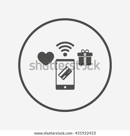 Mobile payments icon. Smartphone, credit card. Flat mobile payments icon. Simple design mobile payments symbol. Mobile payments graphic element. Round button with flat mobile payments icon. Vector - stock vector