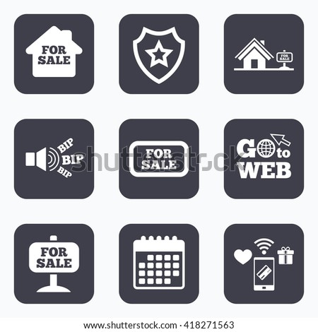 Mobile payments, wifi and calendar icons. For sale icons. Real estate selling signs. Home house symbol. Go to web symbol. - stock vector