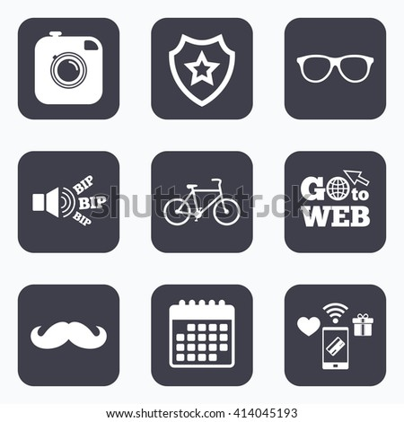 Mobile payments, wifi and calendar icons. Hipster photo camera with mustache icon. Glasses symbol. Bicycle family vehicle sign. Go to web symbol. - stock vector