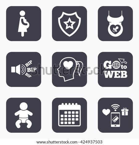 Mobile payments, wifi and calendar icons. Maternity icons. Baby infant, pregnancy and dummy signs. Child pacifier symbols. Head with heart. Go to web symbol. - stock vector
