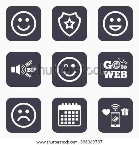 Mobile payments, wifi and calendar icons. Smile icons. Happy, sad and wink faces symbol. Laughing lol smiley signs. Go to web symbol. - stock vector