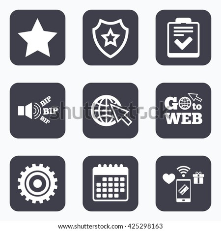 Mobile payments, wifi and calendar icons. Star favorite and globe with mouse cursor icons. Checklist and cogwheel gear sign symbols. Go to web symbol. - stock vector