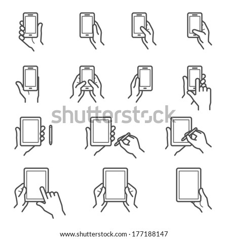 Mobile Phone and Digital Tablet using with Hand Touching Screen Icons - stock vector