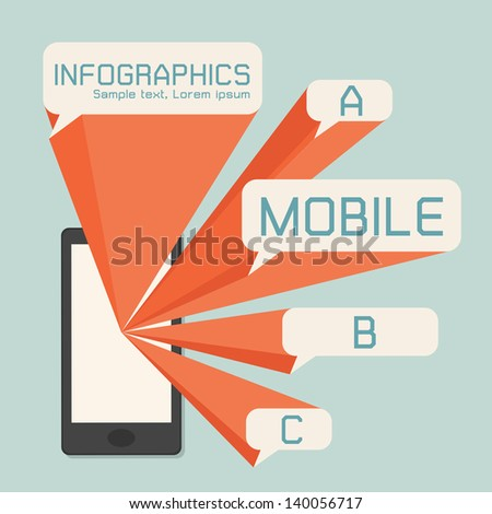 Mobile phone and speech bubbles infographics, vector - stock vector