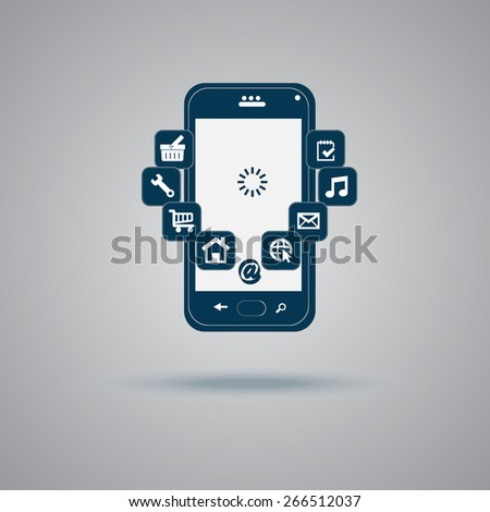 mobile, phone, app, wifi, icon, vector, illustration  - stock vector