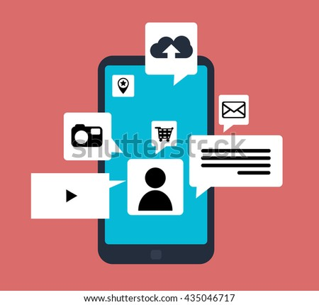 Mobile phone applications. Vector illustration. Isolated objects. - stock vector