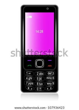 Mobile phone black - stock vector
