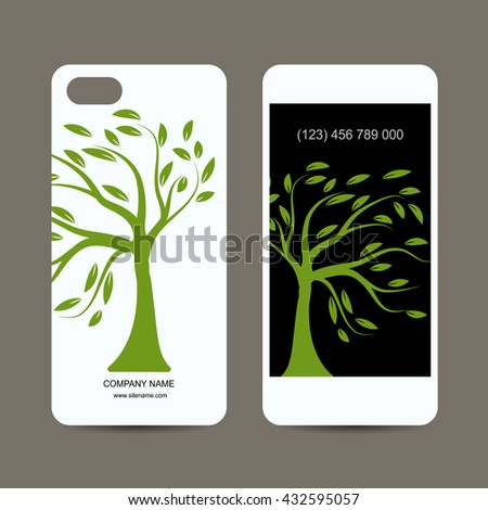 Mobile phone cover design. Art tree sketch. Vector illustration - stock vector