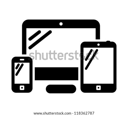 Mobile phone, desktop computer and tablet PC black vector icon - stock vector