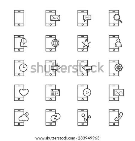 Mobile Phone Device Icons Line - stock vector
