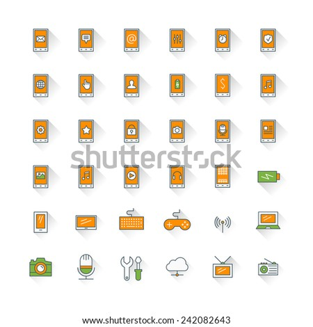 Mobile phone flat design icon set. Mobile phone with icons, computer, camera, cloud, game, battery - stock vector