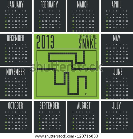 Mobile Phone Game Inspired Pixel Stylish 2013 Calendar of the Year of Snake - stock vector