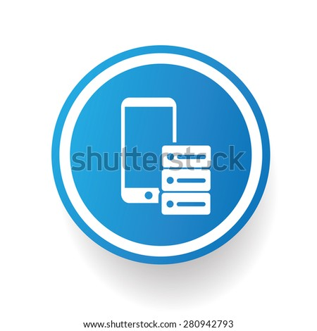 Mobile phone icon on blue button,white background,clean vector - stock vector
