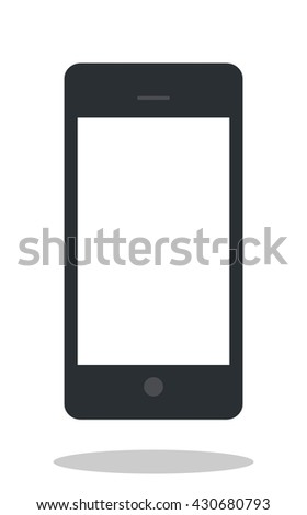 Mobile phone icon with drop shadow. Flat style. Cellphone icon. Cellphone object. Mobile phone object. Mobile telephone. Isolated. White background - stock vector