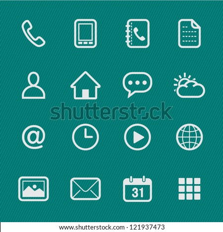 Mobile Phone Icons with Green Background - stock vector