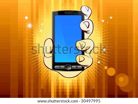 mobile phone in hand on gold background - stock vector