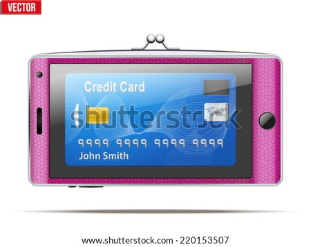 mobile phone in the form of a wallet. Electronic purse and Payment system and mobile technology. Vector Illustration isolated on white background. - stock vector