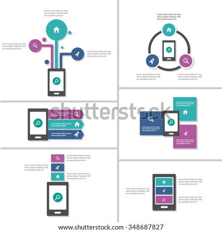 Mobile phone Infographic elements presentation template flat design set for brochure flyer leaflet marketing advertising - stock vector