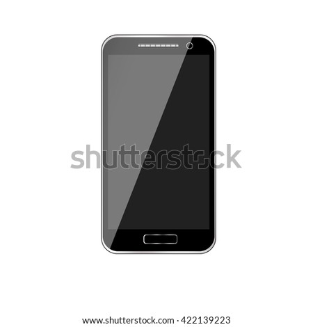Mobile phone. Mobile phone vector. Mobile phone art. Isolated mobile phone. Black mobile phone. Black mobile phone with touchscreen. Mobile phone technology. Realistic mobile phone.  - stock vector