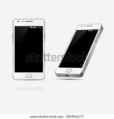 Mobile phone Mockup with blank screen isolated on white background. Vector illustration. Game and application mockup. Realistic smartphones vector set. Perspective smartphone set - stock vector