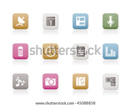 Mobile phone performance icons - vector icon set - stock vector
