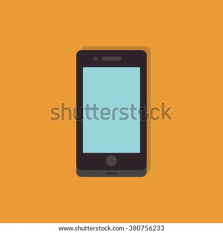 Mobile phone. Phone flat icon. Mobile phone with shadow on a orange background. Smart phone icon - stock vector