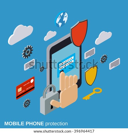 Mobile phone protection, computer security flat isometric vector concept illustration. - stock vector