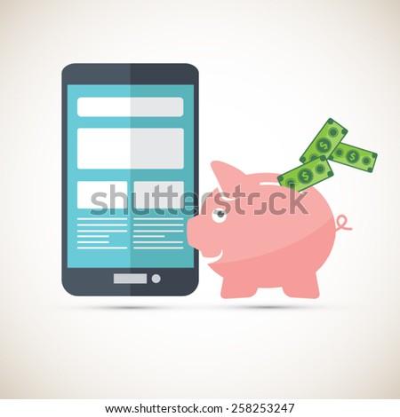 Mobile phone  savings - Piggy bank - stock vector