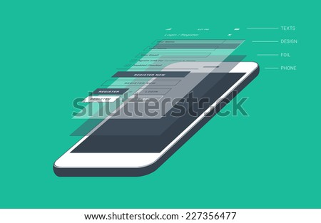 Mobile phone screen divided to layers - flat design illustration - stock vector