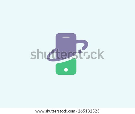 Mobile phone shop Logo design vector template. Smart phone, Global, Social, E-reading Education logotype. On-line store. Application icon concept. - stock vector