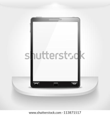 Mobile phone standing on a shelf, vector eps10 illustration - stock vector