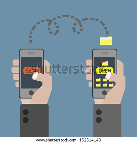 mobile phone transferring data - stock vector