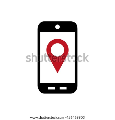 Mobile phone vector flat icon.GPS navigation concept, Smartphone,city application,marker pin pointer.Black,red silhouette.Mobile phone Picture,Graphic.Smartphone icon,Illustration.Mobile phone  icon - stock vector