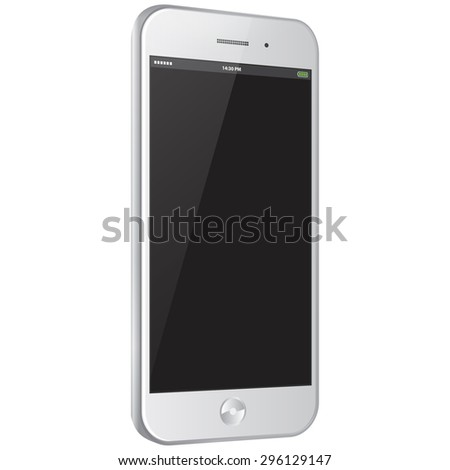 Mobile Phone vector illustration with side view. - stock vector