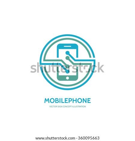 Mobile phone vector logo concept illustration. Smarthone vector logo creative illustration. Mobile technology logo. Cellpnone logo. Mobile phone logo design. Vector logo template. Design element. - stock vector