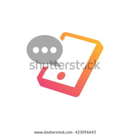 Mobile phone vector logo concept illustration. Smartphone vector logo creative illustration. Mobile technology logo. Cellphone logo. Mobile phone logo design. Vector logo template. Chat Design element - stock vector