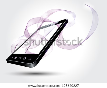 Mobile phone with abstract lines - stock vector
