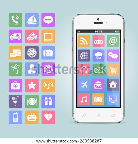 Mobile phone with app icons - stock vector