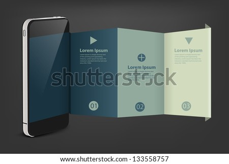 Mobile phone with creative folded paper modern template design, Vector illustration - stock vector